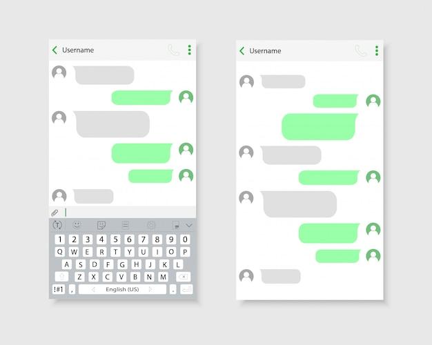 Chat-oberfläche auf dem smartphone. die schnittstelle der korrespondenz.