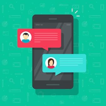 Chat-sms-mitteilungsbenachrichtigung auf flacher karikatur der smartphone- oder mobiltelefonvektor-illustration