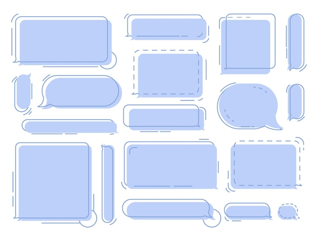 Chat-sprechblasen geometrische gedankenballons-wolken für nachrichten oder dialog-chats-vektor-set