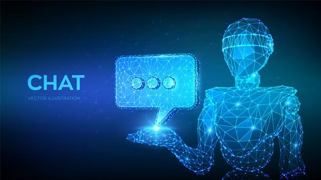 Chatbot. abstrakter niedriger polygonaler roboter 3d, der chatikone hält.