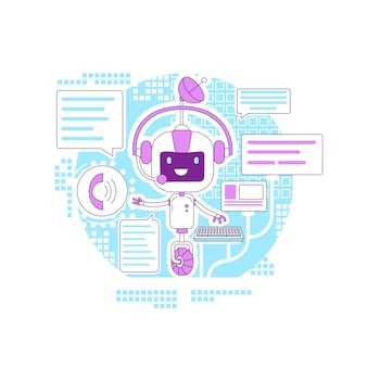 Chatbot app thin line konzept