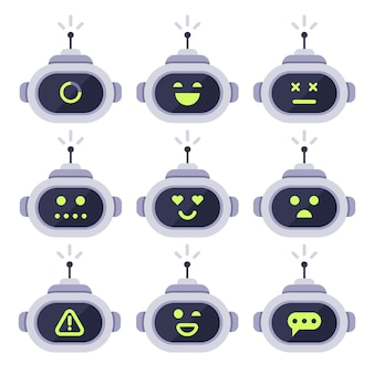 Chatbot-avatar. computer android roboter mit mimik-icon-set