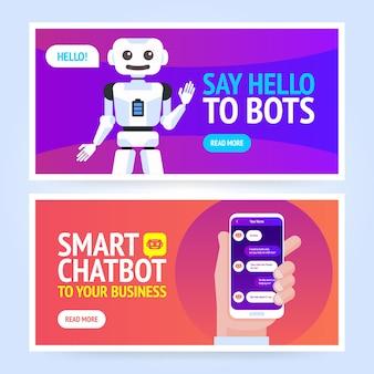 Chatbot-banner-konzept. horizontale geschäftsbanner-vorlage.