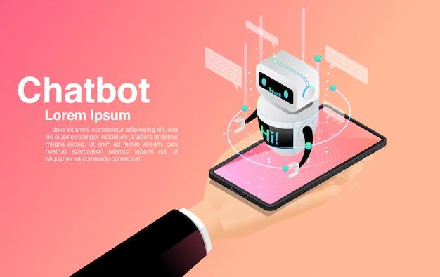 Chatbot, chatten mit chatbot-anwendung, chatbot-technologie und online-hilfe,