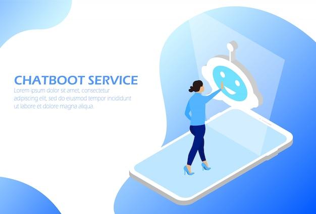 Chatbot-dienst. online-assistent. mann am telefon kommuniziert mit chatbot