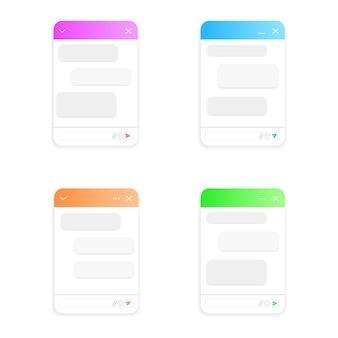 Chatbot-fenstermodelle lebens-chat-formulare mit nachrichtenblasen