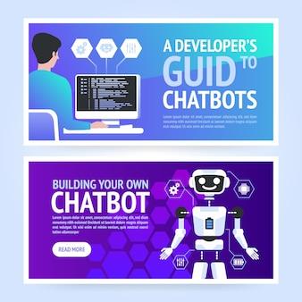 Chatbot horizontale geschäftsbanner-vorlage