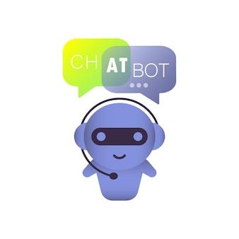 Chatbot-illustration oder online-assistent-bot-zielseitenvorlage