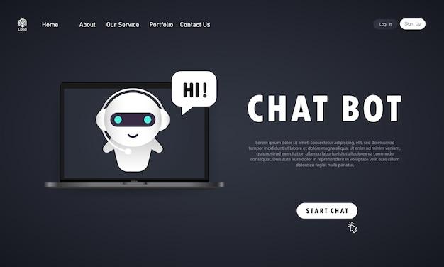 Chatbot in der laptopillustration. vorlage für die zielseite des online-assistenten-bots. dialog, nachricht. technischer support. für webseite. vektor auf isoliertem hintergrund. eps 10.