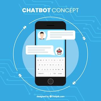 Chatbot konzept hintergrund mit mobilen gerät