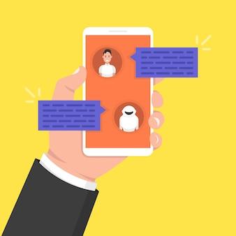 Chatbot-konzept. mann, der mit chat-bot auf smartphone plaudert