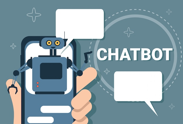 Chatbot-konzept-support-roboter-technologie-digital-chat-bot-anwendung auf intelligentem telefon