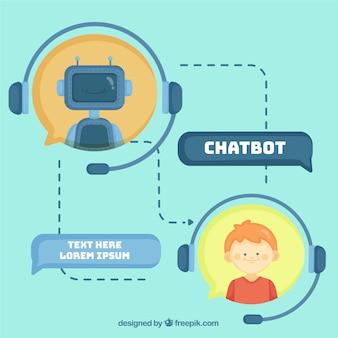 Chatbot-konzepthintergrund in der flachen art