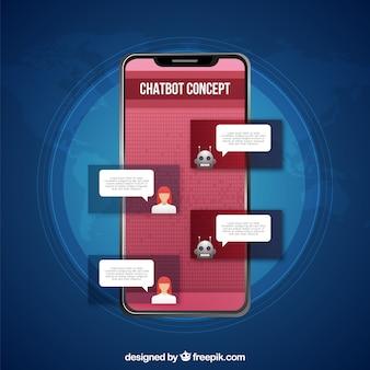Chatbot-konzepthintergrund in der realistischen art