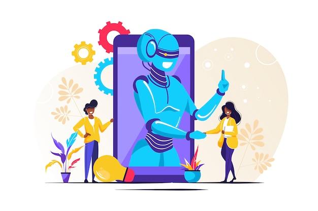 Chatbot, online-support für robotik