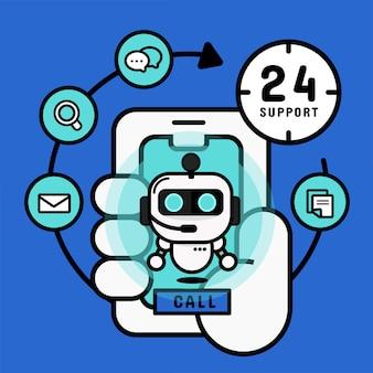 Chatbot roboter auf dem handy. online-einkaufsservice.