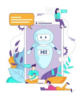 Chatbot sagt hallo künstliche intelligenz-browser.