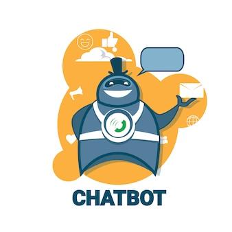Chatbot-symbol konzept unterstützung roboter technologie digital chat bot-anwendung