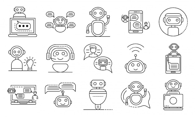 Chatbot-symbole festgelegt, umriss-stil