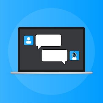 Chatbot-symbolkonzept, chatbot oder chatterbot. virtuelle roboterunterstützung von websites oder mobilen anwendungen
