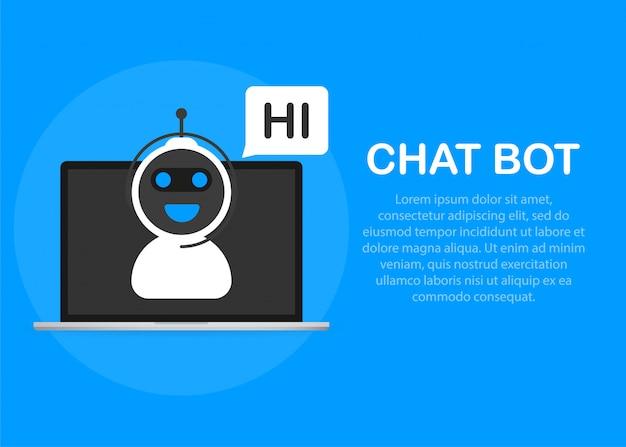 Chatbot-symbolkonzept, chatbot oder chatterbot.