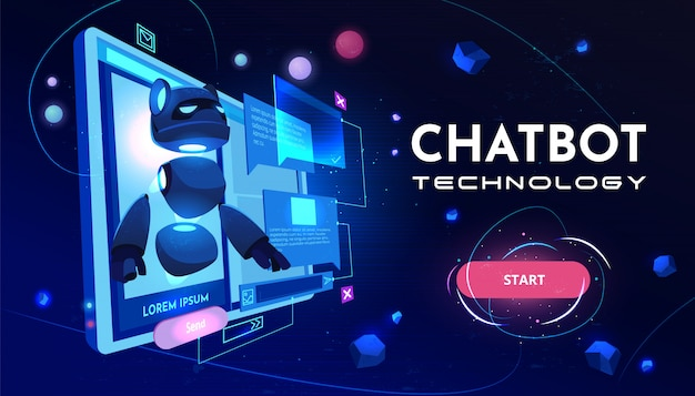 Chatbot-technologie-service-cartoon-banner