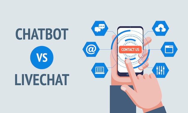 Chatbot vs livechat-konzept.