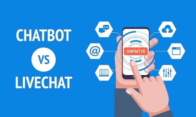 Chatbot vs livechat, Premium Vektoren