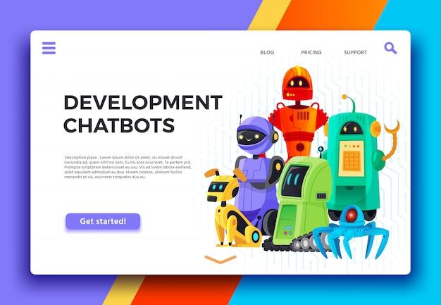Chatbots-entwicklung. digitaler chatbot-assistent, freundliche roboter und hilfsroboter-landingpage-cartoonillustration
