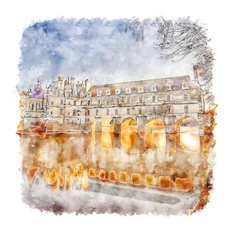 Chateau de chenonceau aquarell skizze hand gezeichnete illustration