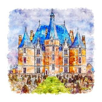 Chateau de martainville frankreich aquarell skizze hand gezeichnet