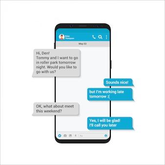 Chating- und messaging-illustrationskonzept. messenger des sozialen netzwerks mit nachrichtenblasen des modernen stils im smartphone isoliert.