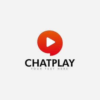 Chatspiellogodesign-schablonenvektor lokalisiert