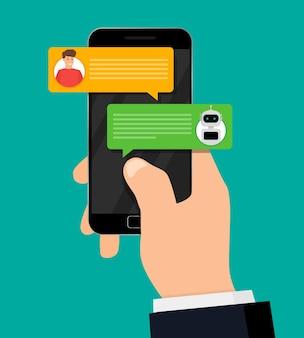 Chatten mit bot. hand, die smartphone mit menschlichem gespräch mit roboter hält.