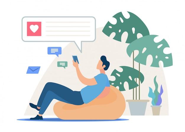 Chatten mit smartphone messenger app vector
