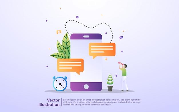 Chatten und kommentieren sie soziale medien, senden und empfangen sie nachrichten, vermarkten und bewerben sie soziale medien