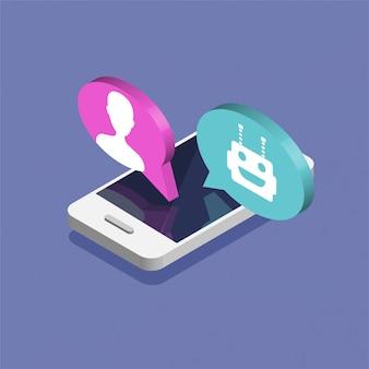 Chatten zwischen roboter und mensch. chat-bot-konzept. isometrisches smartphone mit roboter-avatar. modernes design von messaging-blasen und dialogfeldern. illustration.