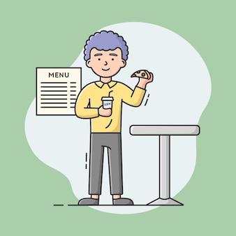 Cheat mahlzeit, gesundes lebensstilkonzept. mann isst stück pizza, das durch soda abwäscht. junge betrügt seine diät und isst ungesunde fast-food-mahlzeit