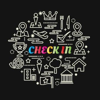 Check-in bunten farbverlauf mit linie icons set