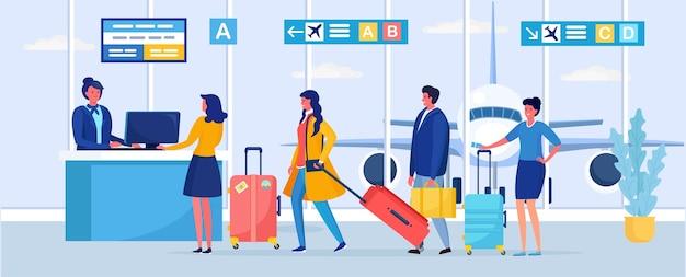 Check-in, registrierung in passagieren des flughafenterminals, die am abfluggate in der warteschlange stehen