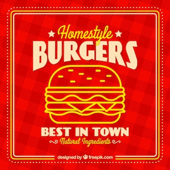 Checkered hintergrund mit leckeren burger in flachen design