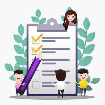 Checkliste abbildung. leute, die plan erstellen und überprüfen. konzept der erfolgreichen zielerreichung, der produktiven tagesplanung und des aufgabenmanagements
