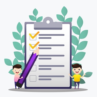 Checkliste abbildung. stehende checkliste und behälter der mannarbeitskraft.