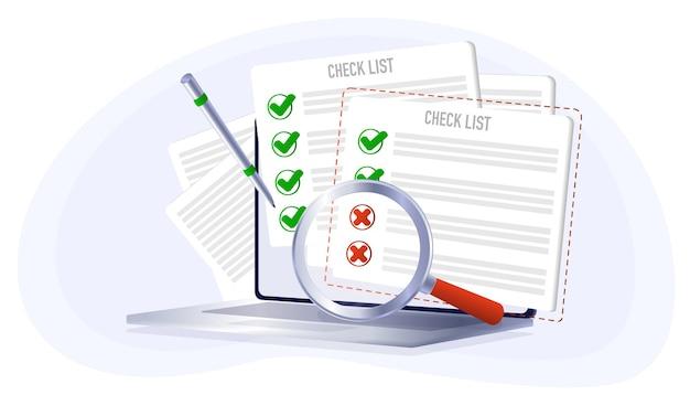 Checkliste auf dem computer-tablet wahl ja oder nein abstimmungsrückruf falsches vorzeichen korrigieren
