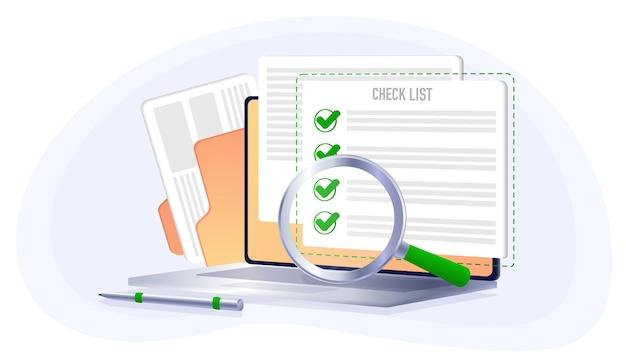 Checkliste auf dem computer-tablet wahl ja oder nein abstimmungsrückruf flacher stil isoliert auf weiß