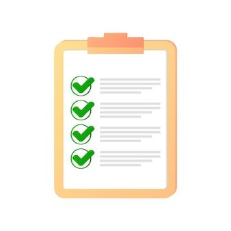 Checkliste auf dem tablet richtiges zeichen rechtes markierungssymbol gesetzt grünes häkchen flaches symbol check ok ja Premium Vektoren