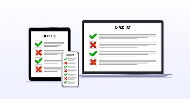 Checkliste auf dem tablet-telefon-computer wahl ja oder nein abstimmungsrückruf flacher stil isoliert o