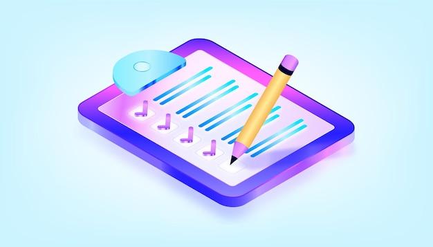 Checkliste auf einem klemmbrettpapier. erfolgreiche erledigung kaufmännischer aufgaben. isometrische illustration mit 3d-verlauf