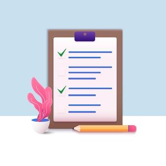 Checkliste auf einem klemmbrettpapier erfolgreicher abschluss von geschäftsaufgaben