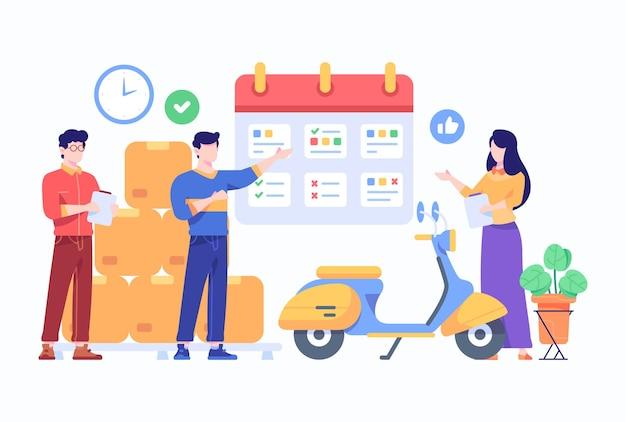 Checkliste für die verwaltung von paketen durch mitarbeiter der e-commerce-reederei